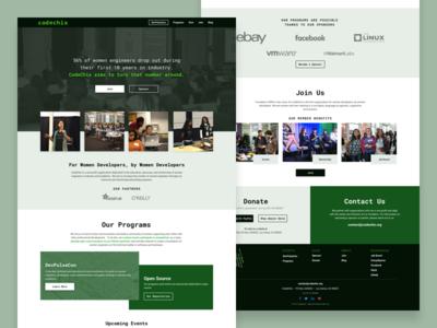 CodeChix Redesign green nonprofit redesign webdesign website