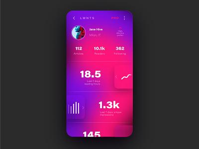 Profile mobile mobile ui profile dailyui app vector ux icon design colors gradient illustration design color