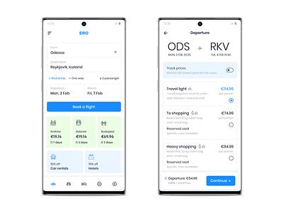 eiro light android ui  ux ux flight app mobile icons ui design