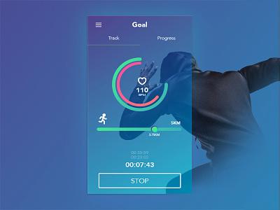 Fitness tracker UI simple minimal flat gradient fitness app ui