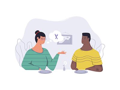 Dinning Illustration people minimal illustration flat