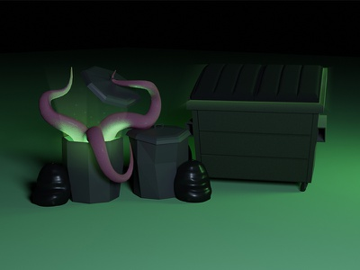 Magic Dumpster green teleport magic magic dumpster moster glow tenticles trashcan trash dumpster blender 3d 3d art blender 3d design flat minimal illustration