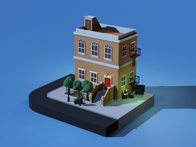 Townhouse cartoon 3d art city building house blender3d blender 3d