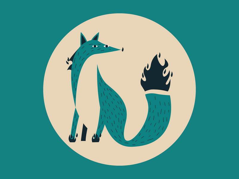 Foxy stylized mascot animal logo fox