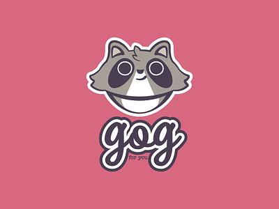 Gog the Raccoon fun playful graphic design raccoon design branding illustration animal mascot logo