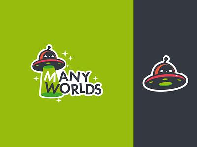 Many Worlds energetic playful fun space spaceship alien ufo branding design mascot logo