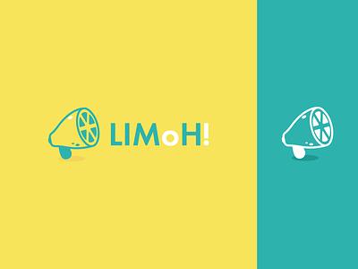 LimoH! (Tasty Sound) modern playful fun lemon lime fruit sound voice graphic design megaphone branding design logo