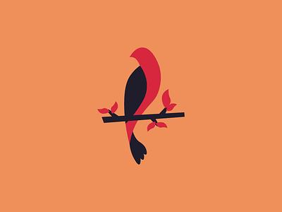 I love birds - 2 branch stick leaf fall flow simple red minimalist minimal bird