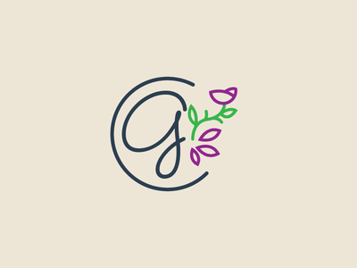 Trying to get better with feminine logo designs circle script petal leaf leaves gray purple green logo line flower
