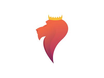 Gradient Lion King king crown lion magenta purple red yellow orange pink gradient