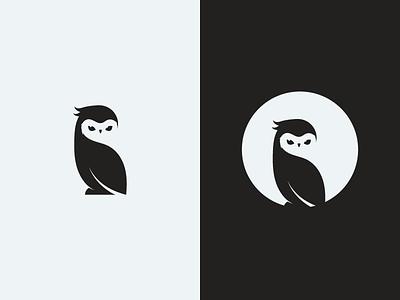 Owl negative space bird minimalist minimal white mascot black logo owl