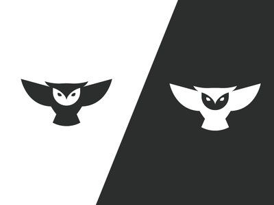 Owl - 2 negative space bird minimalist minimal white mascot black logo owl