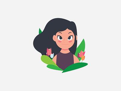 Girl in the Garden illustration human hair cute garden female girl