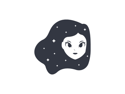 Girl From Dreams logogirl star space dreams illustration human hair cute garden female