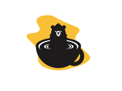 Coffee Lover Bear yellow black tea addiction bear cup coffee