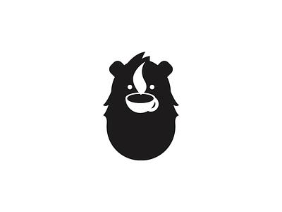 Coffee Lover Bear in Danger hair smoke white black bear danger negative space coffee