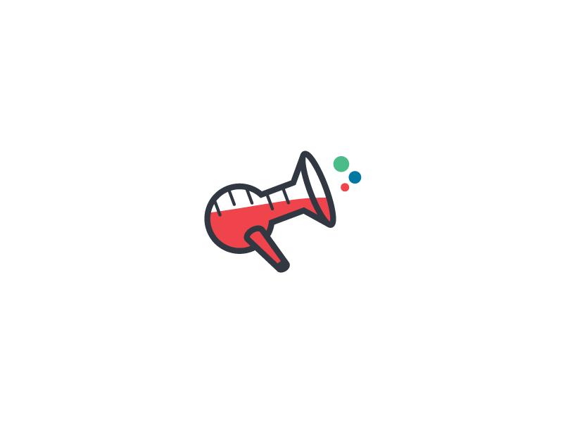 Loud Science red logo tube science megaphone loud