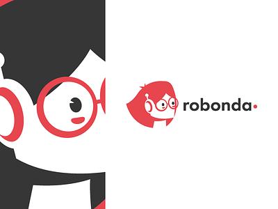 Ronda - A.I. Assistant design logo mascot negative space minimal black red female head robot