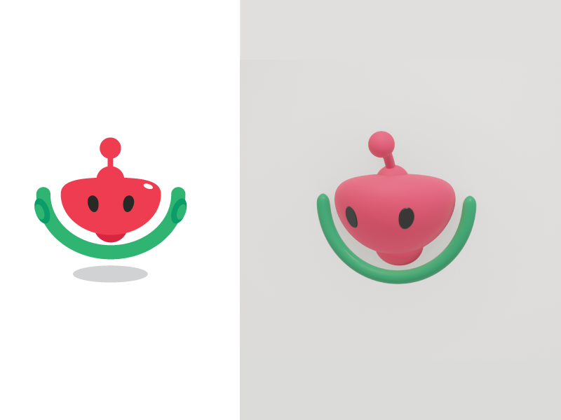Melon Bot green pink model 3d logo watermelon robot bot