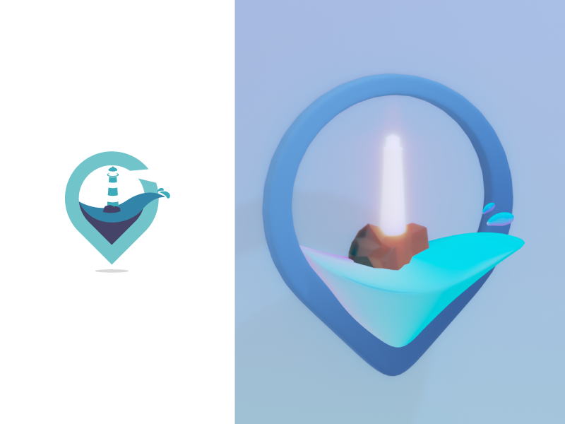 Another Day, Another 3D model of my old design light blue 3d model model 3d location wave lighthouse logo