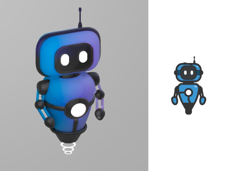 Blue Robot black 3d model design logo mascot technology bot blue robot