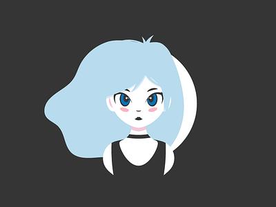 Girl From Moon character illustration white black moon bored hair blue woman female girl