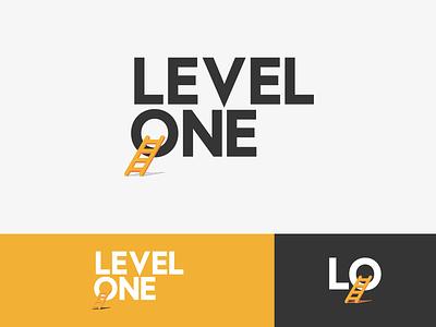 Level One Starts design modern orange one level ladder wordmark logo