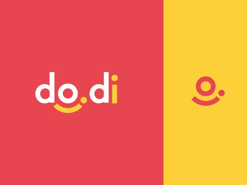 do.di (Faux app brand) clean modern yellow red pink wordmark logo