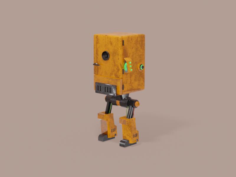 Old fridge bot cute sci-fi 3d model bot robot