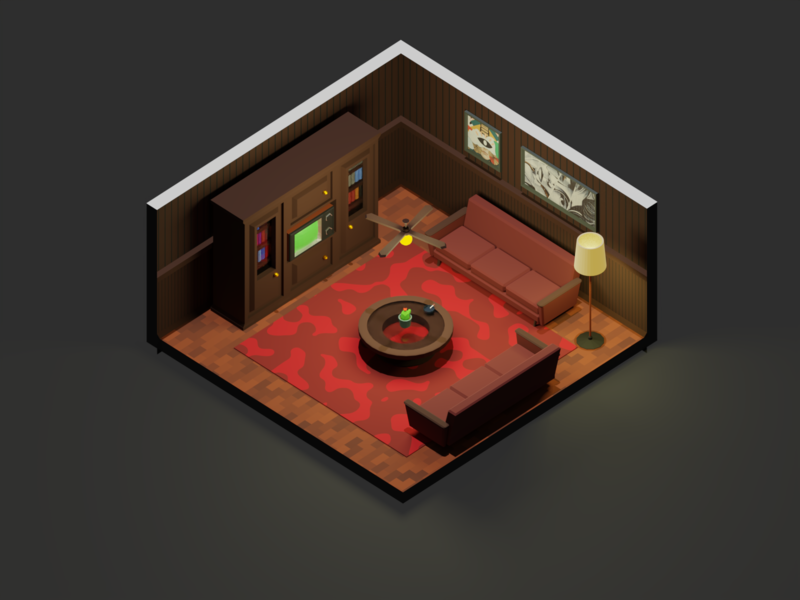 Old Room retro old room low poly 3d model