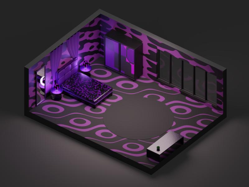 Tacky Bedroom practice isometric room 3d art 3d model black purple bed bedroom