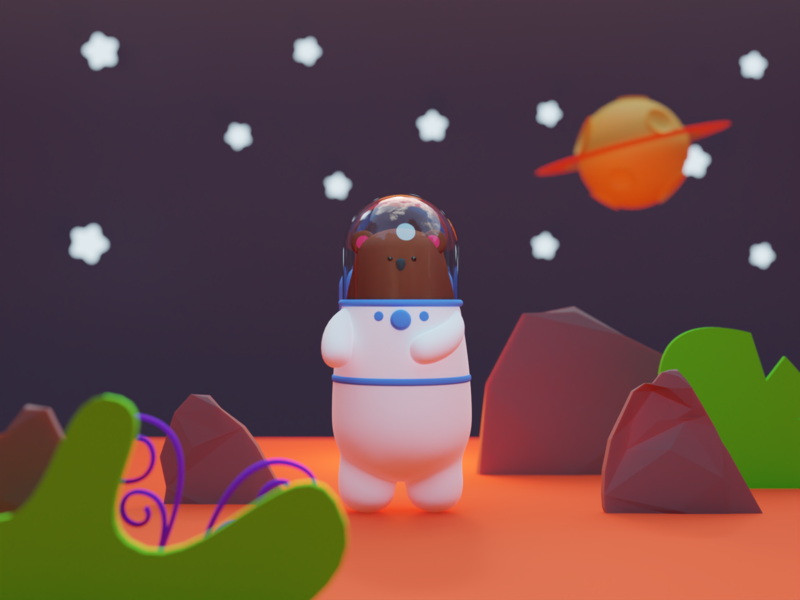 Space Bear model 3d colorful playful funny cute toy sci-fi astronaut bear space