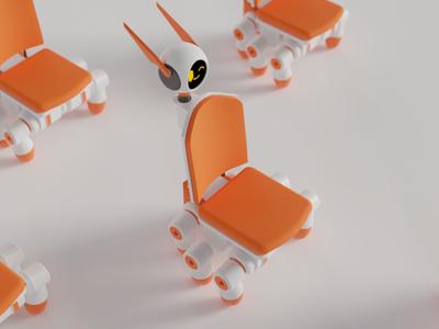 Chair Bot white orange sci fi sci-fi science fiction bot robot chair 3d art 3d blender