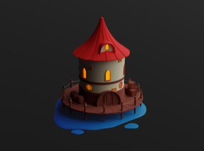Lone Tower cute medieval tower house blender3d blender 3d art 3d toy