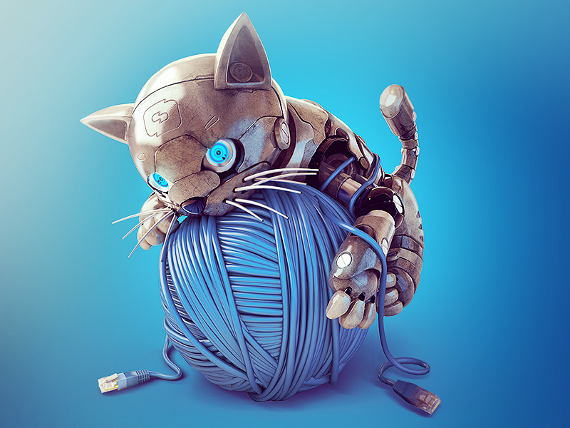Cat cat meow 3d robot supercat