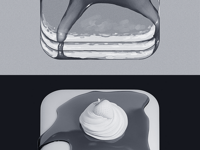 Pancakes App Icon ios red white photoshop whippedcream breakfast pancake pancakes app icon icons syrup strawberry cream apple yummy appicon hungry
