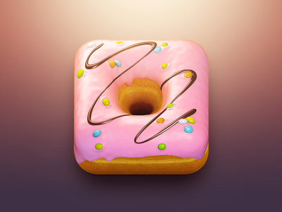 Donut App Icon donut app chocolate sweet edible ui candy food icon glaze ios icons photoshop pink yummy 3d real