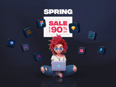 UI8 Spring Sale 2020 rezz red character animation 3d ui design icons ui ux sale spring ui8