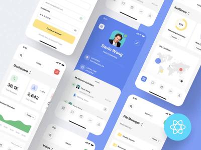 SaaS Dashboard App Starter Kit + React code development animation react saas app dashboard ux design ios mobile app