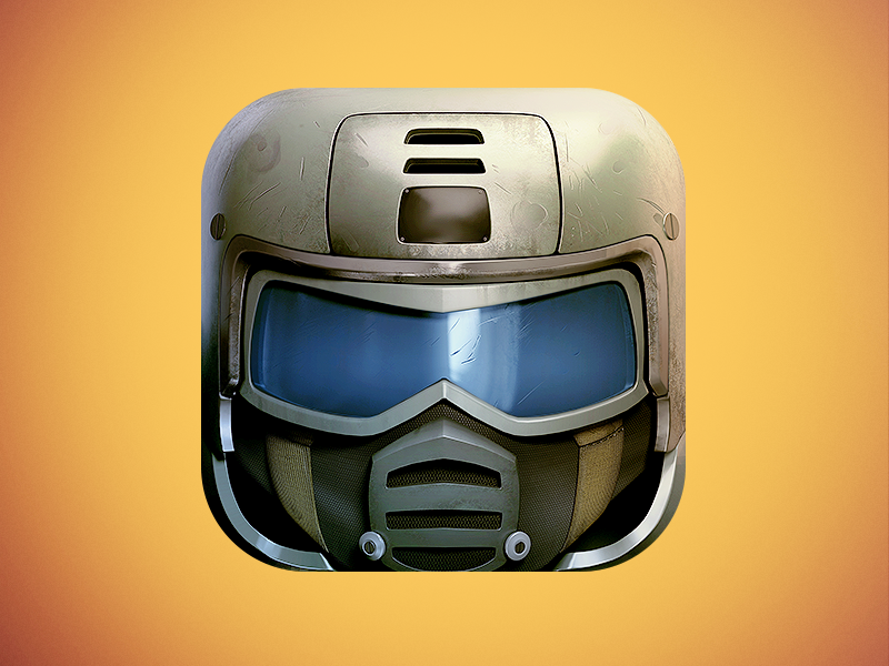 Soldier App Icon rts icon icons icon design graphics graphic design illustration blue war 3d visor soldier yellow helmet ios7 metal ios skew fps