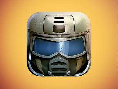 Soldier App Icon rts icon icons icon design graphics graphic design illustration blue war 3d visor soldier yellow helmet ios7 metal ios skew fps