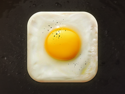 Fried Egg Icon icons icon design yellow hungry cook cooking pepper yum ios app ipad icon