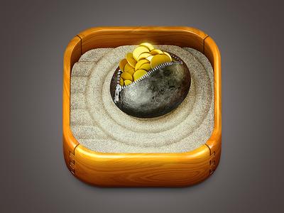 ZenFinance Icon ios app icon money zen sand gold coins yellow wood ipad iphone