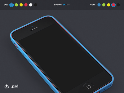 iPhone 5c + Case Showcase Template (PSD)