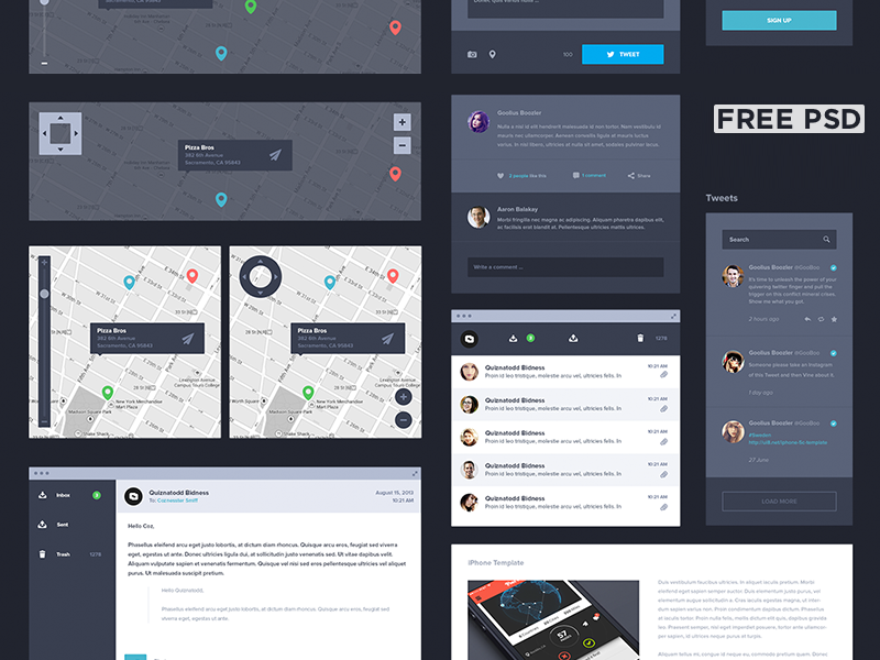 UI Kit Dark [Free] uikit ui8 psd photoshop free freebie ui