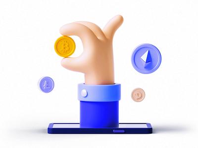 Ether - Crypto 3D Icon Set ui8 gif animation bitcoin btc finance crypto 3d
