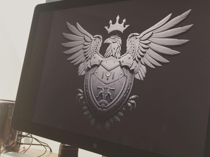 ARMS wip metal maya shield eagle illustration 3d