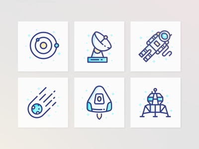 Galactic Icons futuristic illustrations galaxy space sketch icons