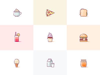 Yummies pizza donut burger illustration illustrations illustrator sketch yummy food icons