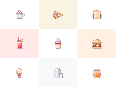 Yummies pizza donut burger illustration illustrations illustrator sketch yummy food icons